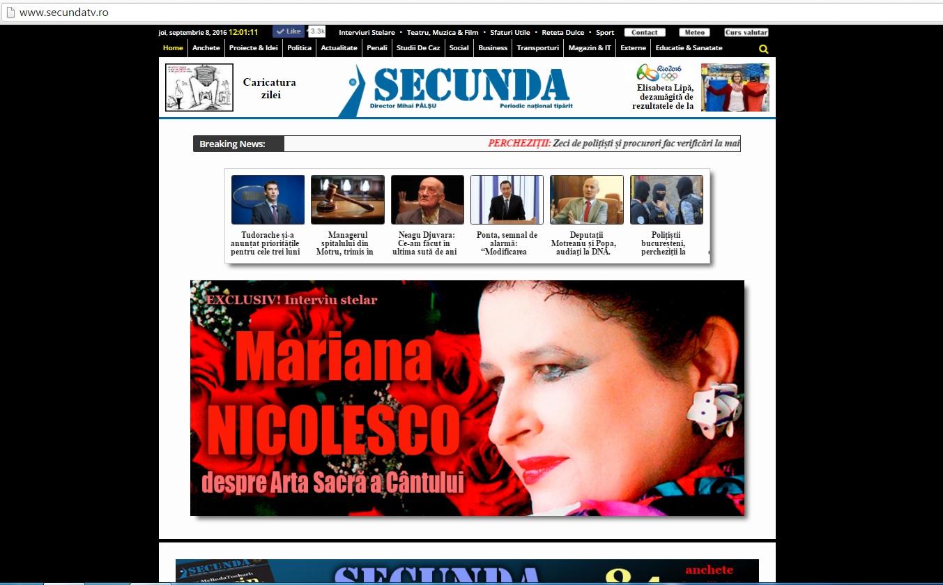 8 septembrie 2016 Mariana Nicolesco despre arta sacra a cantului