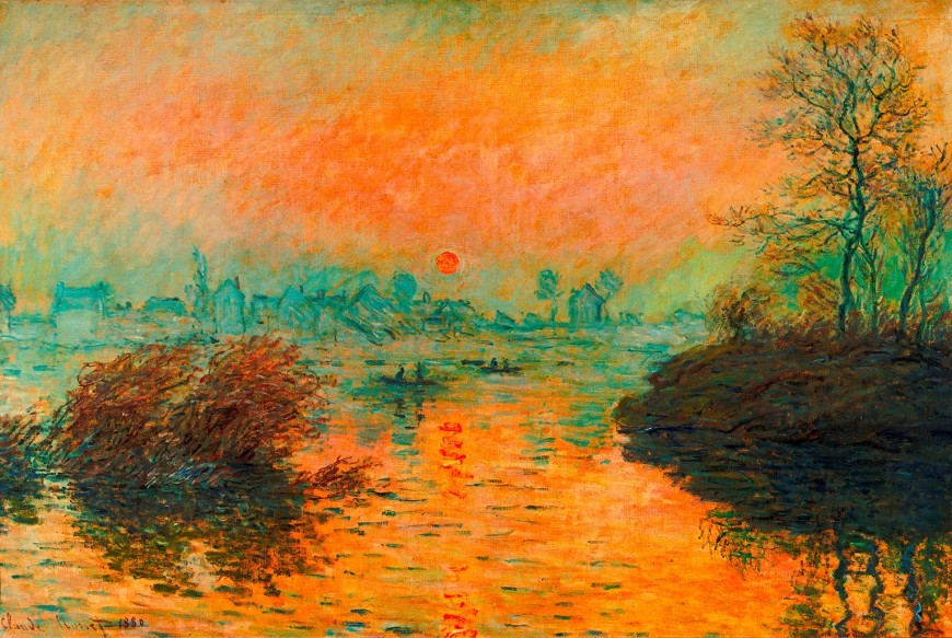 Claude-Monet,-Sunset-on-the-River-at-Lavacourt,-Winter